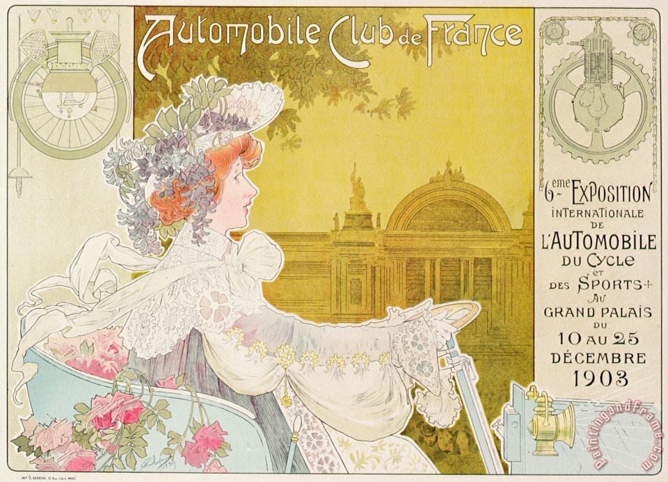 Poster Advertising The Sixth Exhibition Of The Automobile Club De France painting - J Barreau Poster Advertising The Sixth Exhibition Of The Automobile Club De France Art Print