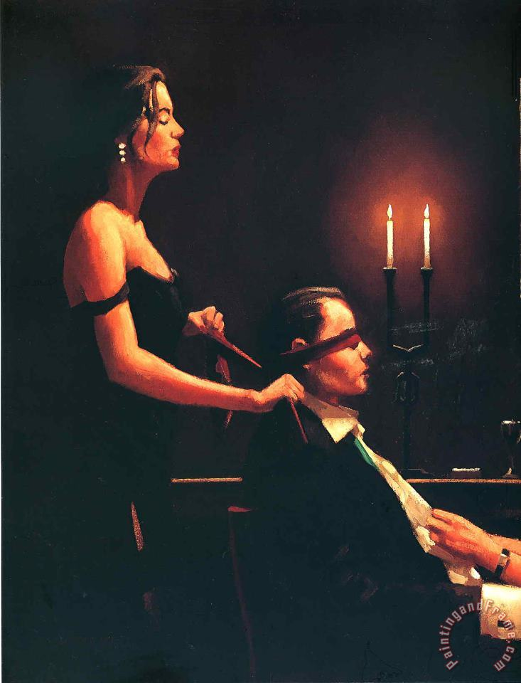 Wicked Games Detail painting - Jack Vettriano Wicked Games Detail Art Print