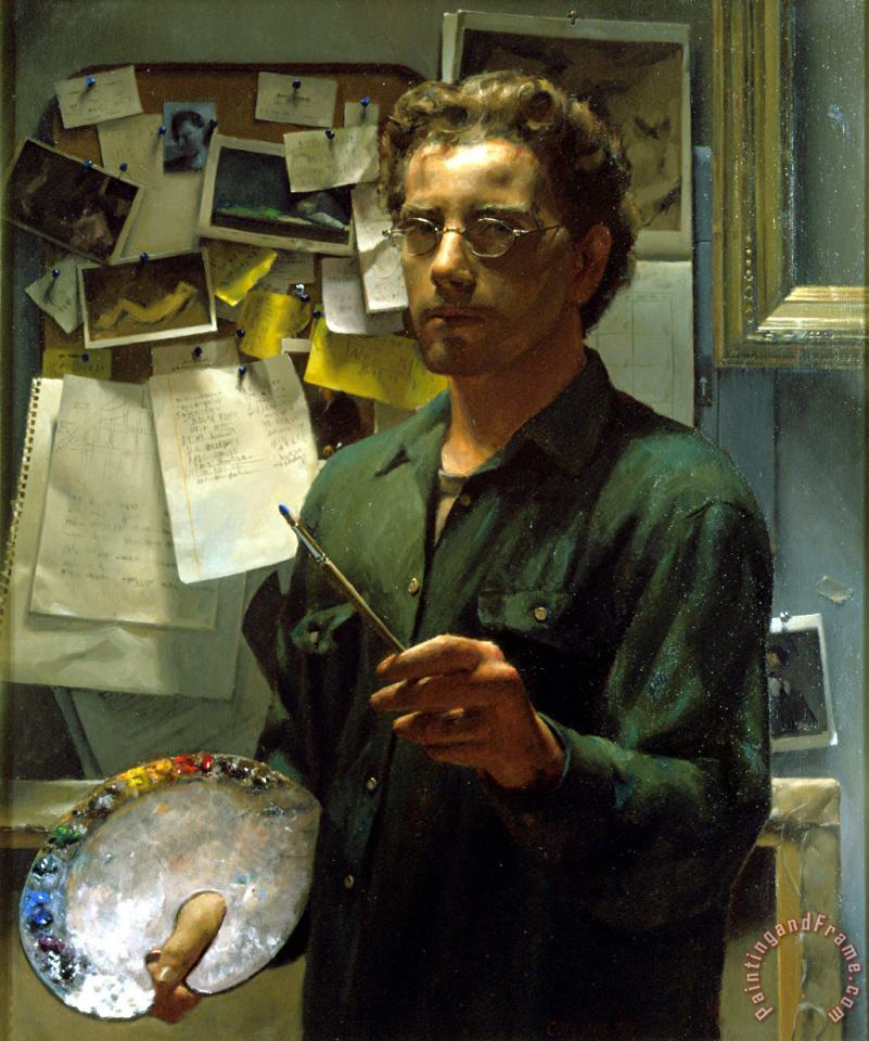 Self Portrait with Palette painting - Jacob Collins Self Portrait with Palette Art Print