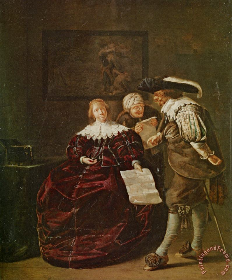 The Contract a Lady Presenting a Letter to a Gentleman And an Old Lady Studying Another in an Interior painting - Jacob Duck The Contract a Lady Presenting a Letter to a Gentleman And an Old Lady Studying Another in an Interior Art Print