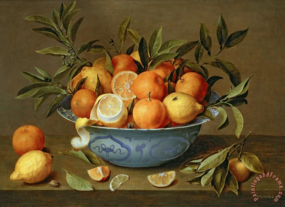 Jacob van Hulsdonck Still Life with Oranges and Lemons in a Wan-Li Porcelain Dish Art Print