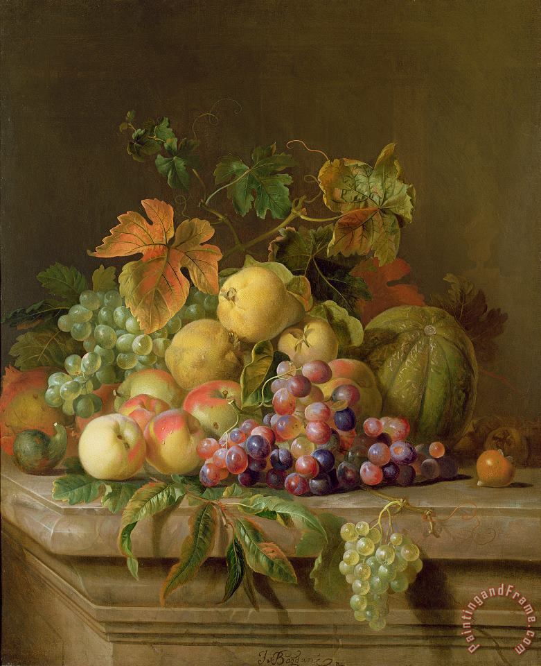 A Still Life of Melons Grapes and Peaches on a Ledge painting - Jakob Bogdani A Still Life of Melons Grapes and Peaches on a Ledge Art Print