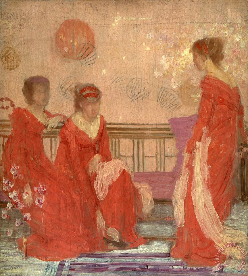 Harmony in Flesh Colour And Red painting - James Abbott McNeill Whistler Harmony in Flesh Colour And Red Art Print