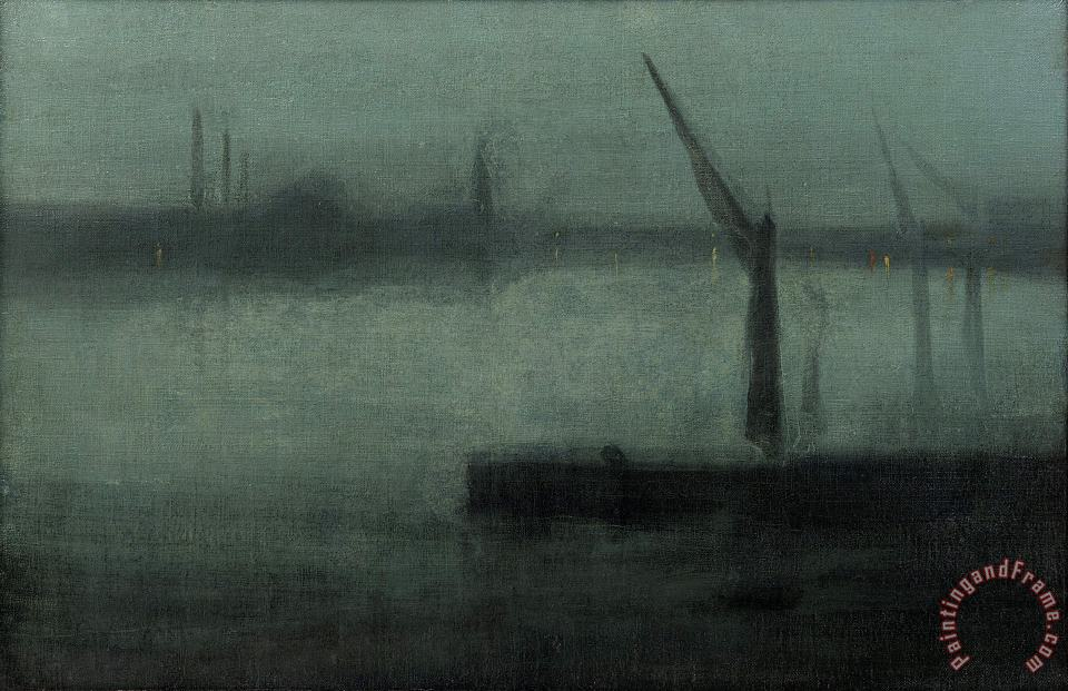 James Abbott McNeill Whistler Nocturne Blue And Silver鈥攂attersea Reach Art Print