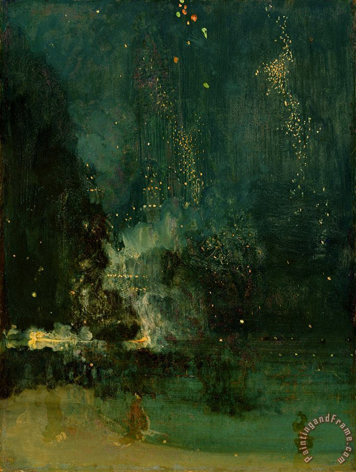 James Abbott McNeill Whistler Nocturne in Black and Gold - the Falling Rocket Art Print