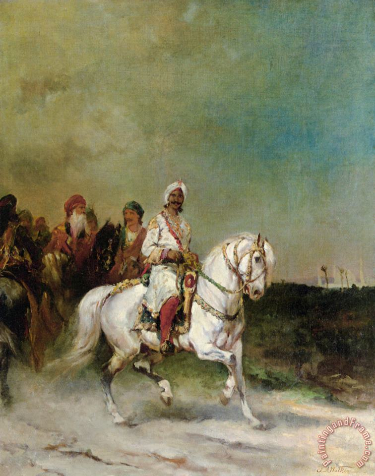 James Alexander Walker A Maharaja on a White Horse Art Painting