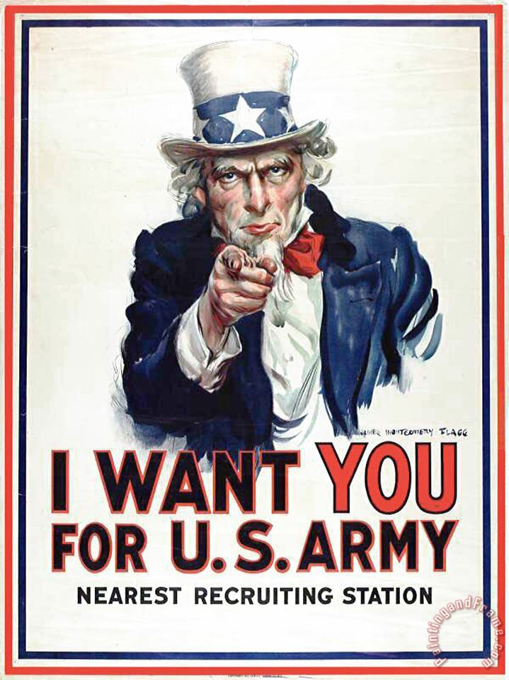 I Want You For The Us Army Recruitment Poster During World War I painting - James Montgomery Flagg I Want You For The Us Army Recruitment Poster During World War I Art Print