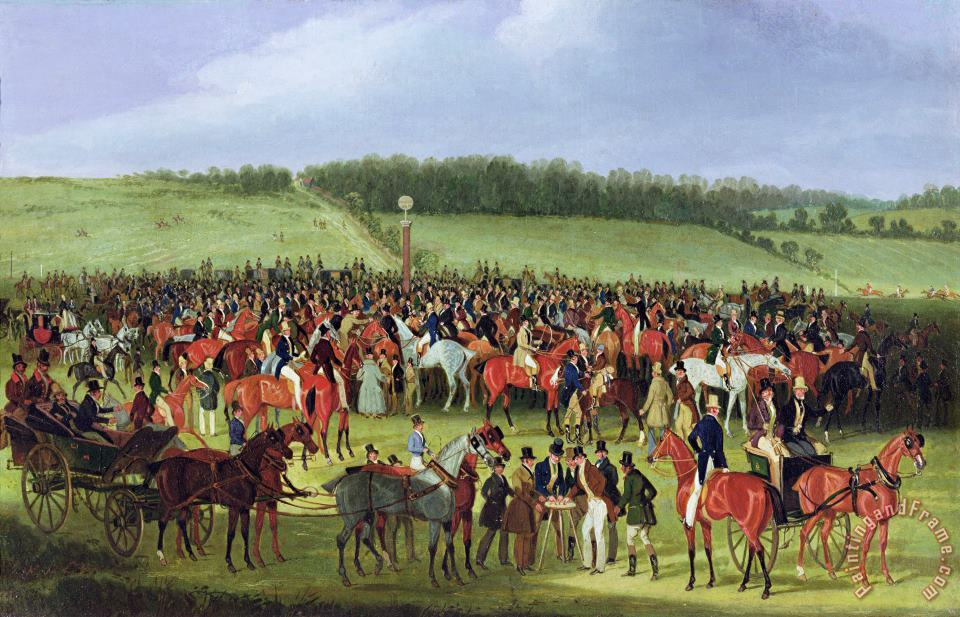 Epsom Races - The Betting Post painting - James Pollard Epsom Races - The Betting Post Art Print