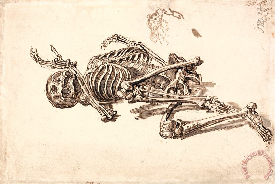 A Human Skeleton painting - James Ward A Human Skeleton Art Print