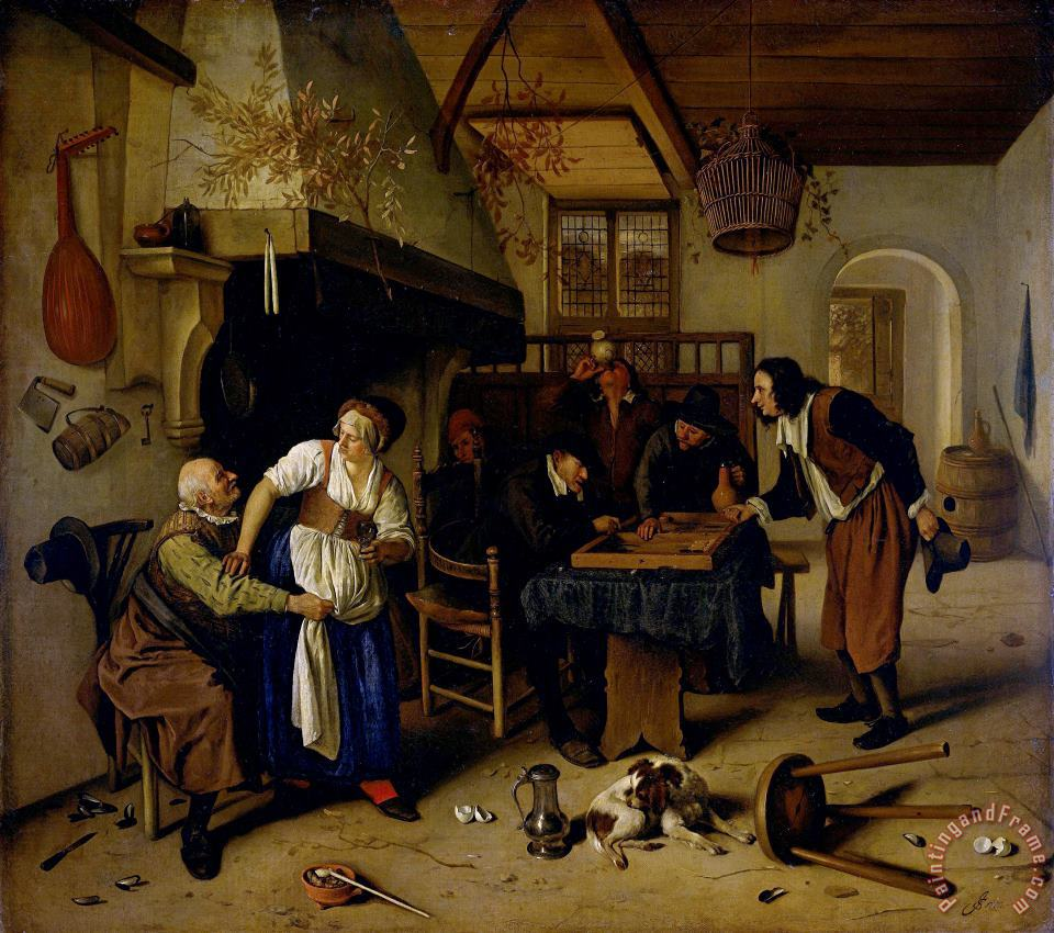 Interior of an Inn with an Old Man Amusing Himself with The Landlady And Two Men Playing Backgammon, Known As 'two Kinds of Games' painting - Jan Havicksz Steen Interior of an Inn with an Old Man Amusing Himself with The Landlady And Two Men Playing Backgammon, Known As 'two Kinds of Games' Art Print