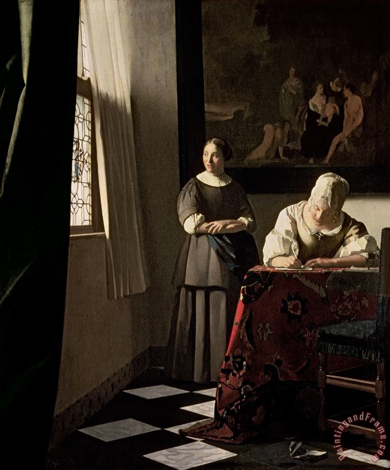 Lady writing a letter with her Maid painting - Jan Vermeer Lady writing a letter with her Maid Art Print