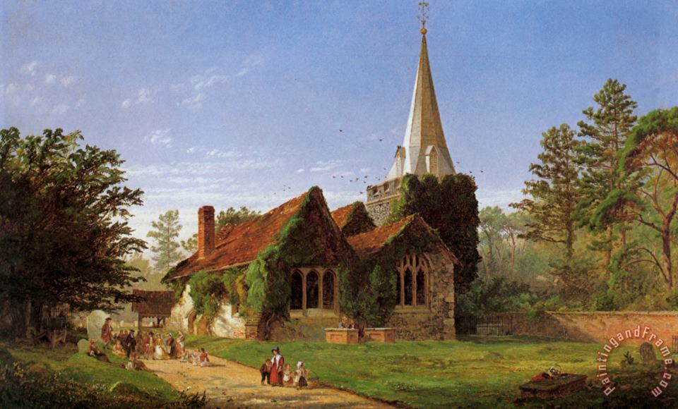 The Church at Stoke Poges painting - Jasper Francis Cropsey The Church at Stoke Poges Art Print