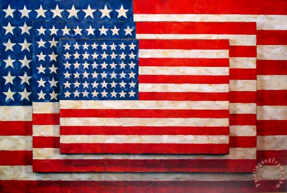 jasper johns Three Flags Art Painting