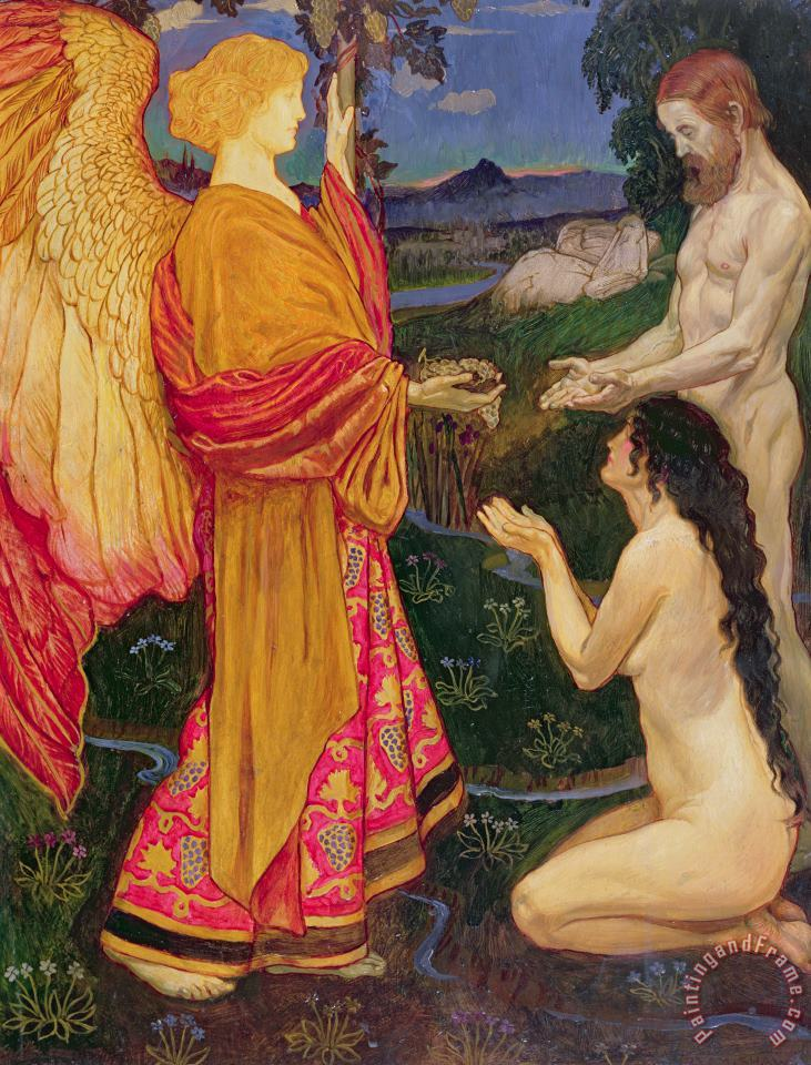 JBL Shaw The Angel offering the fruits of the Garden of Eden to Adam and Eve Art Painting