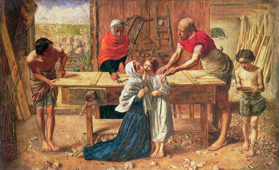 Christ in the House of His Parents painting - JE Millais and Rebecca Solomon Christ in the House of His Parents Art Print