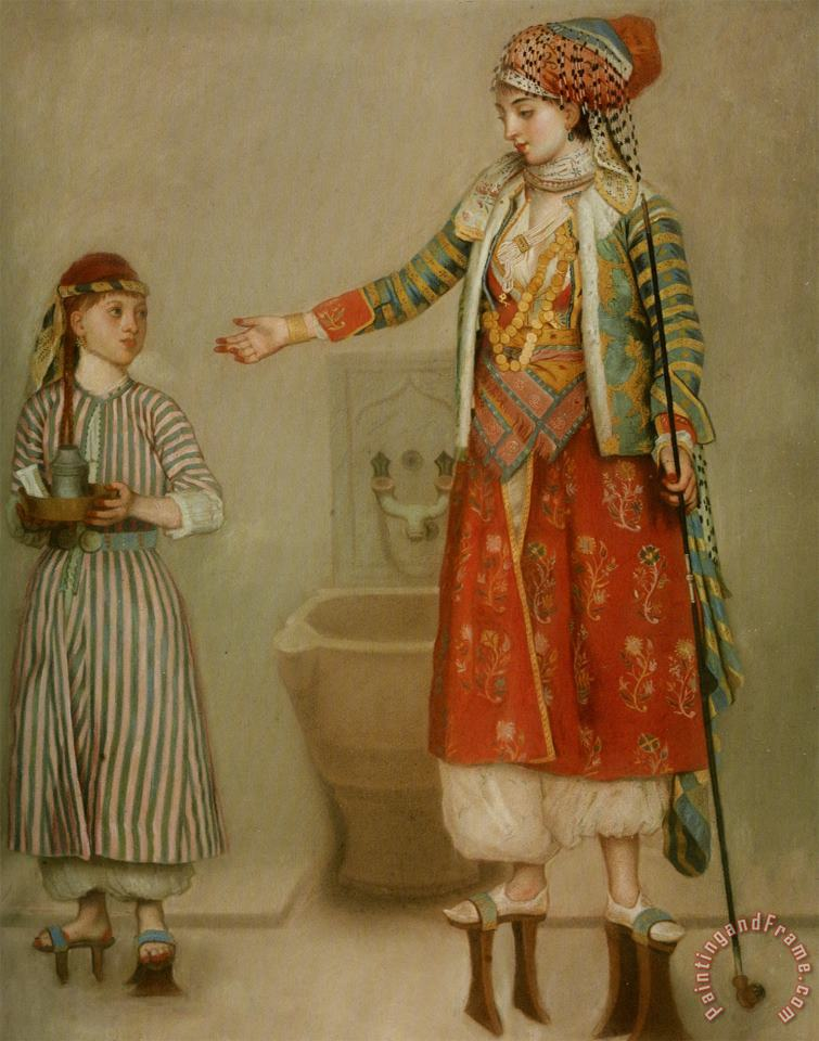 Jean-Etienne Liotard A Lady in Turkish Costume with Her Servant at The Hammam Art Painting