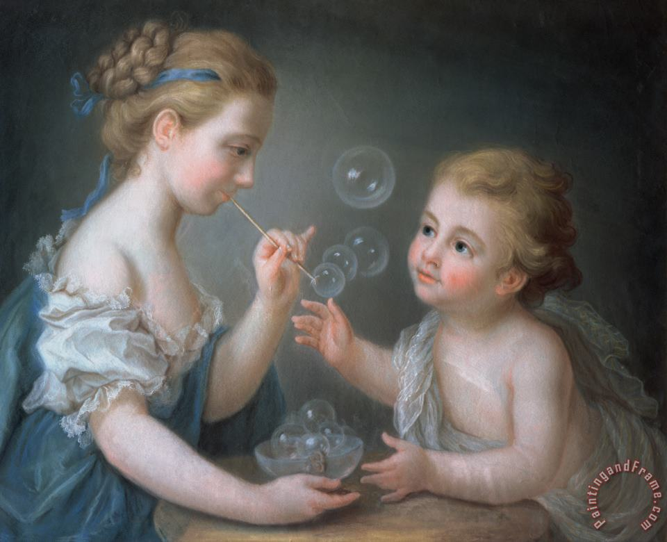 Children blowing bubbles painting - Jean-Etienne Liotard Children blowing bubbles Art Print
