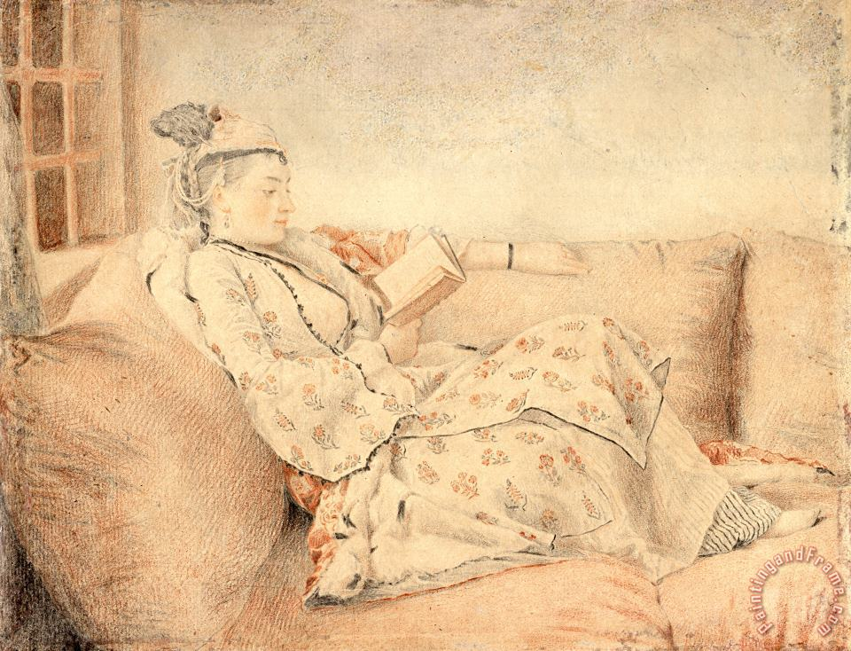 Jean-Etienne Liotard Lady in Turkish Dress, Reading Art Painting