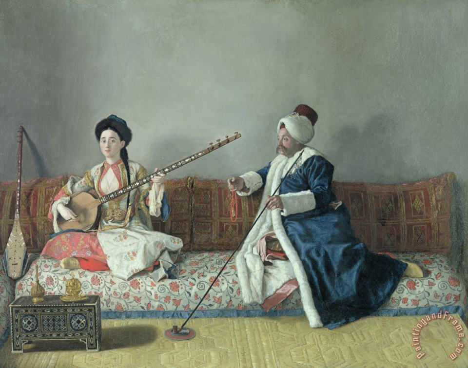 Jean-Etienne Liotard Monsieur Levett and Mademoiselle Helene Glavany in Turkish Costumes Art Painting