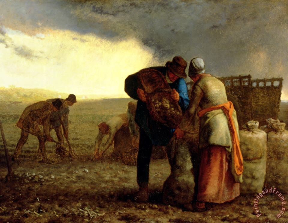The Potato Harvest painting - Jean-Francois Millet The Potato Harvest Art Print