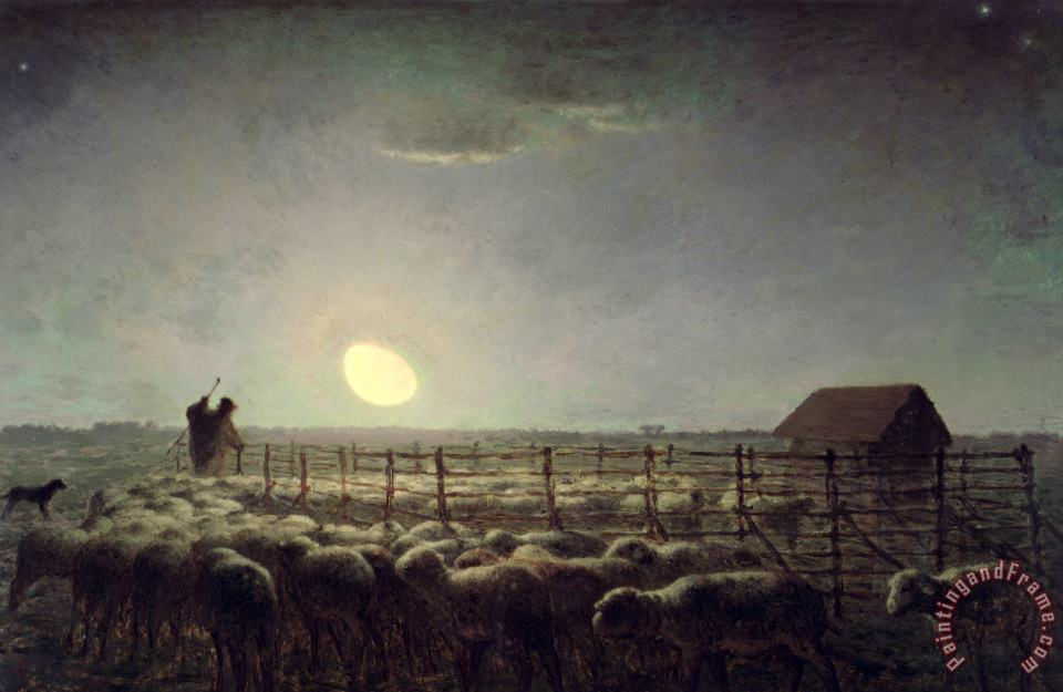 Jean-Francois Millet The Sheepfold Moonlight Art Print