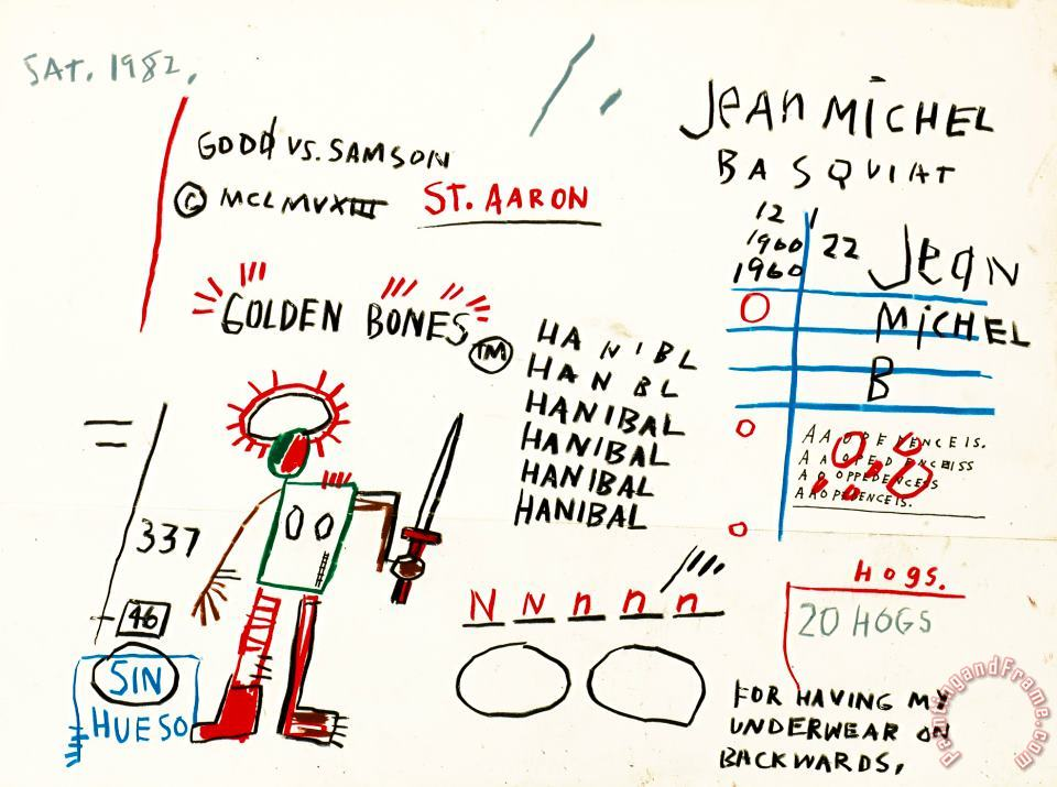 Jean-michel Basquiat Golden Bones Art Painting