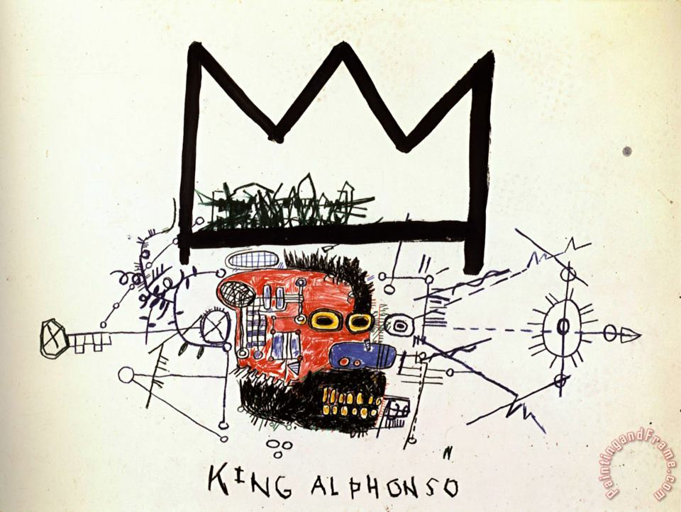King Alphonso painting - Jean-michel Basquiat King Alphonso Art Print
