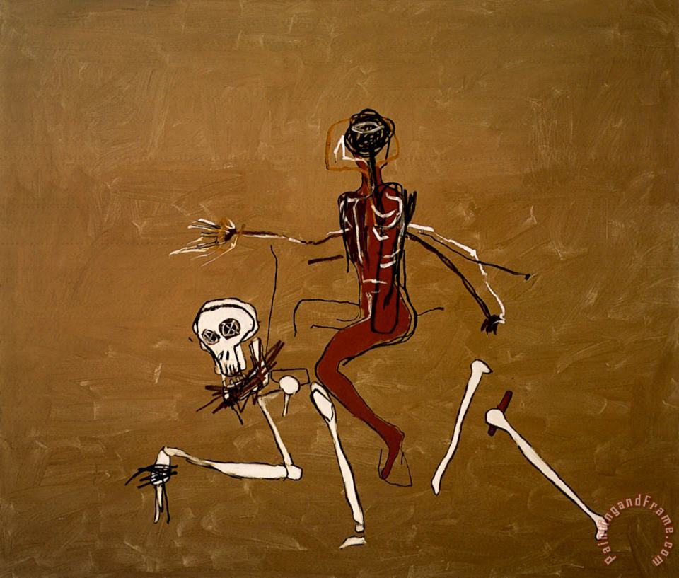 Riding with Death painting - Jean-michel Basquiat Riding with Death Art Print