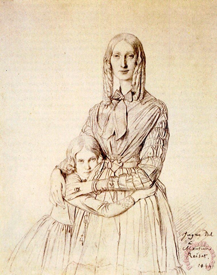 Madame Frederic Reiset, Born Augustine Modest Hortense Reiset, And Her Daughter, Theres Hortense Marie painting - Jean Auguste Dominique Ingres Madame Frederic Reiset, Born Augustine Modest Hortense Reiset, And Her Daughter, Theres Hortense Marie Art Print