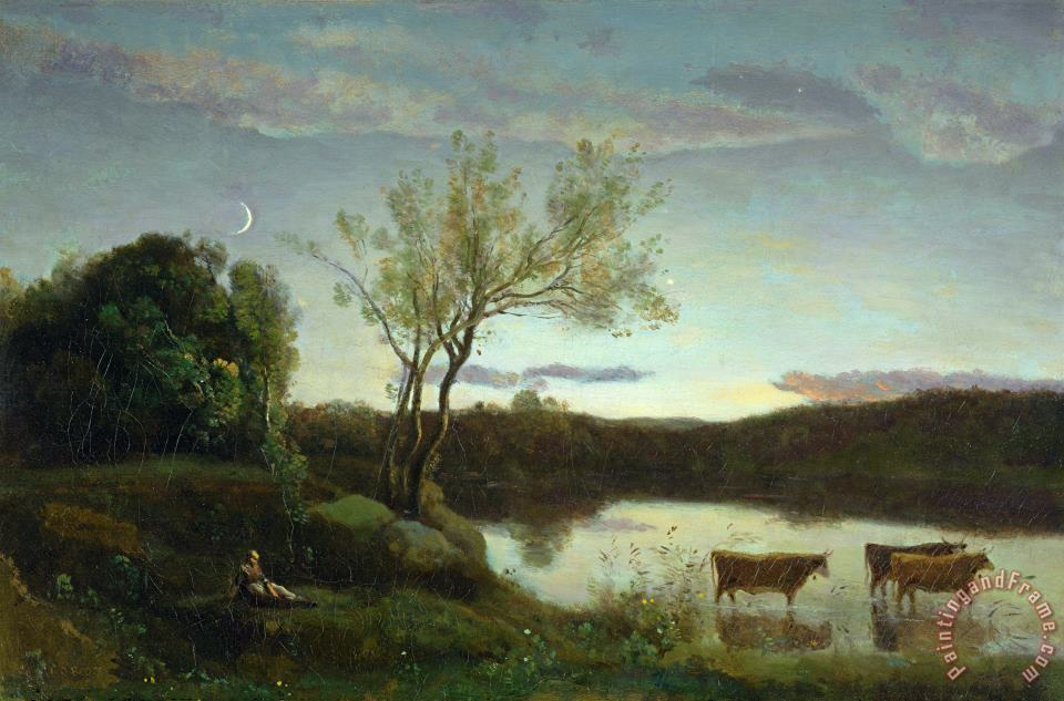 A Pond with three Cows and a Crescent Moon painting - Jean Baptiste Camille Corot A Pond with three Cows and a Crescent Moon Art Print