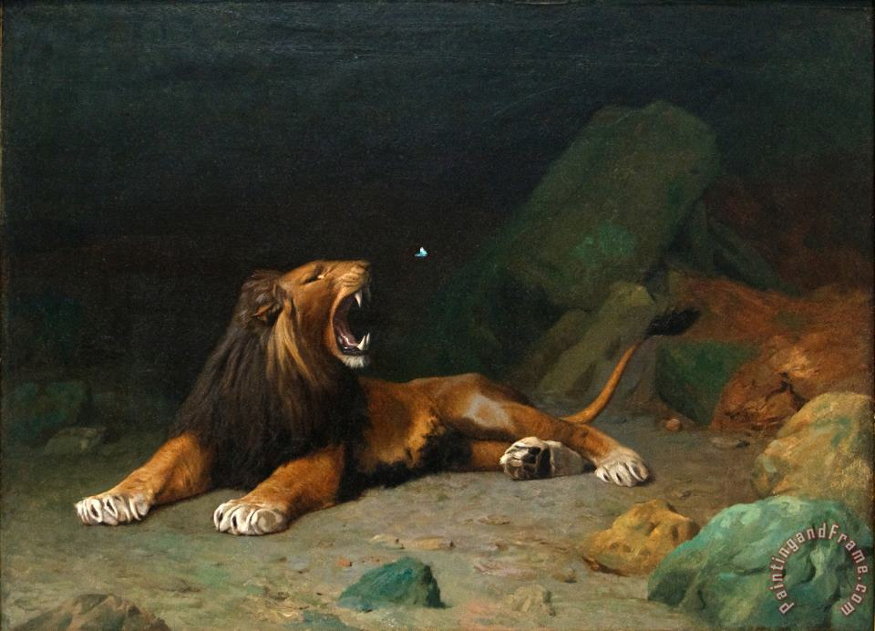Lion Snapping at a Butterfly painting - Jean Leon Gerome Lion Snapping at a Butterfly Art Print