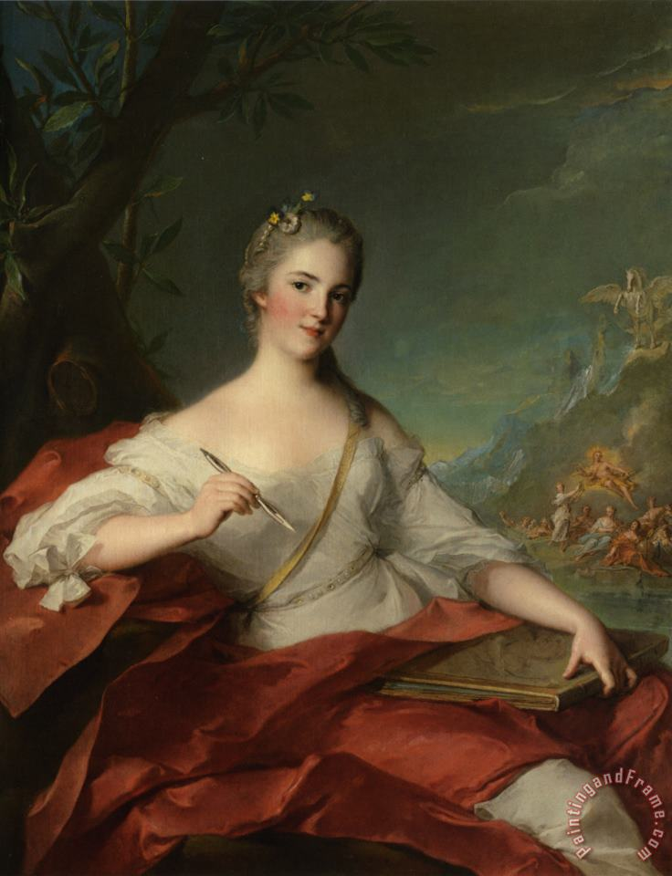 Portrait of Marie Genevieve Boudrey Represented As a Muse painting - Jean Marc Nattier Portrait of Marie Genevieve Boudrey Represented As a Muse Art Print