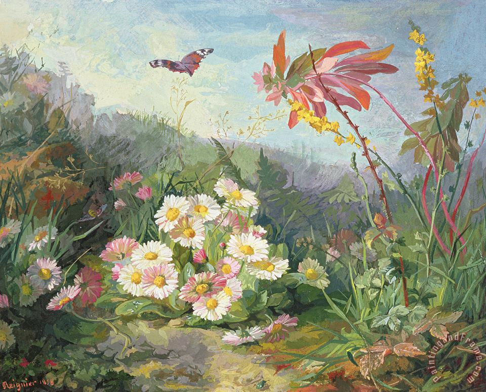 Jean Marie Reignier Wild Flowers And Butterfly Art Print