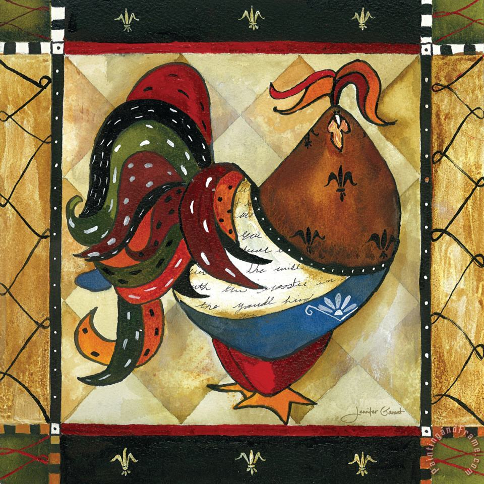 Tuscan Rooster I painting - Jennifer Garant Tuscan Rooster I Art Print