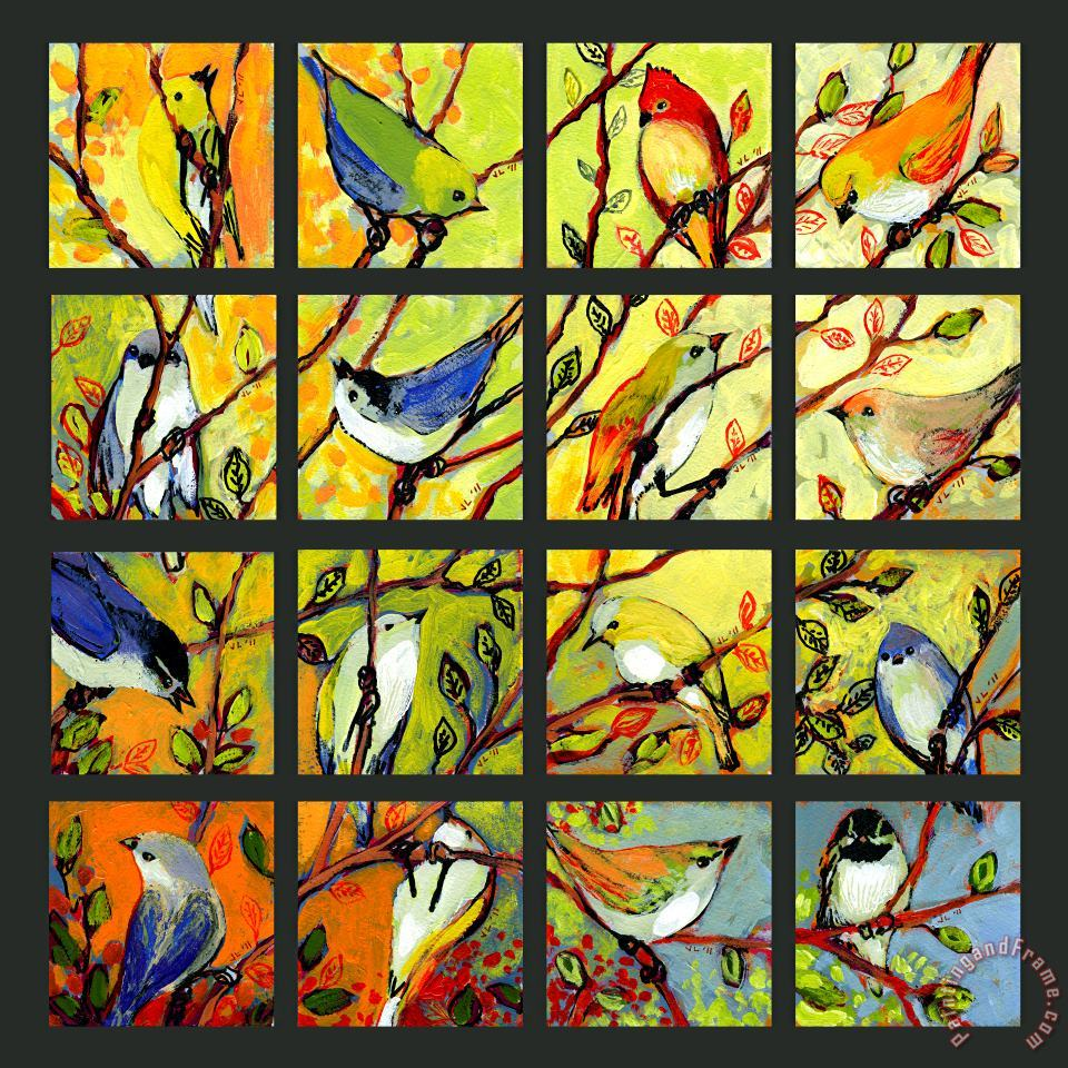 Jennifer Lommers 16 Birds Art Painting
