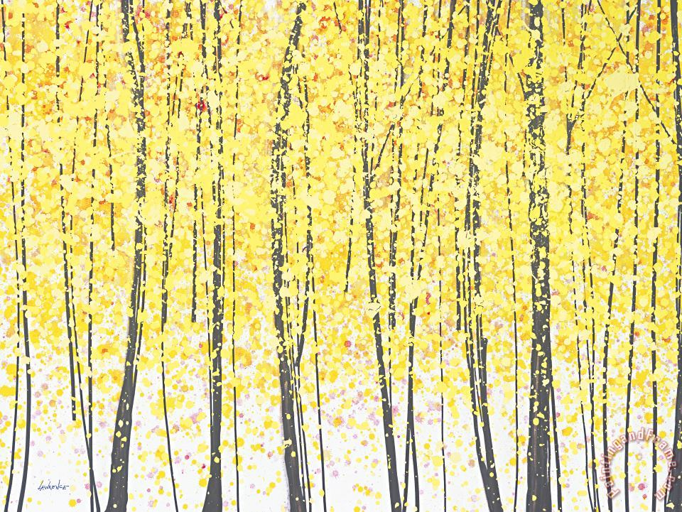 Jerome Lawrence Trees at Twilight Gold Art Print