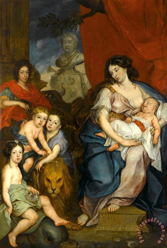 Jerzy Siemiginowski-Eleuter Portrait of Queen Maria Casimire with Children (ca. 1684) Art Print