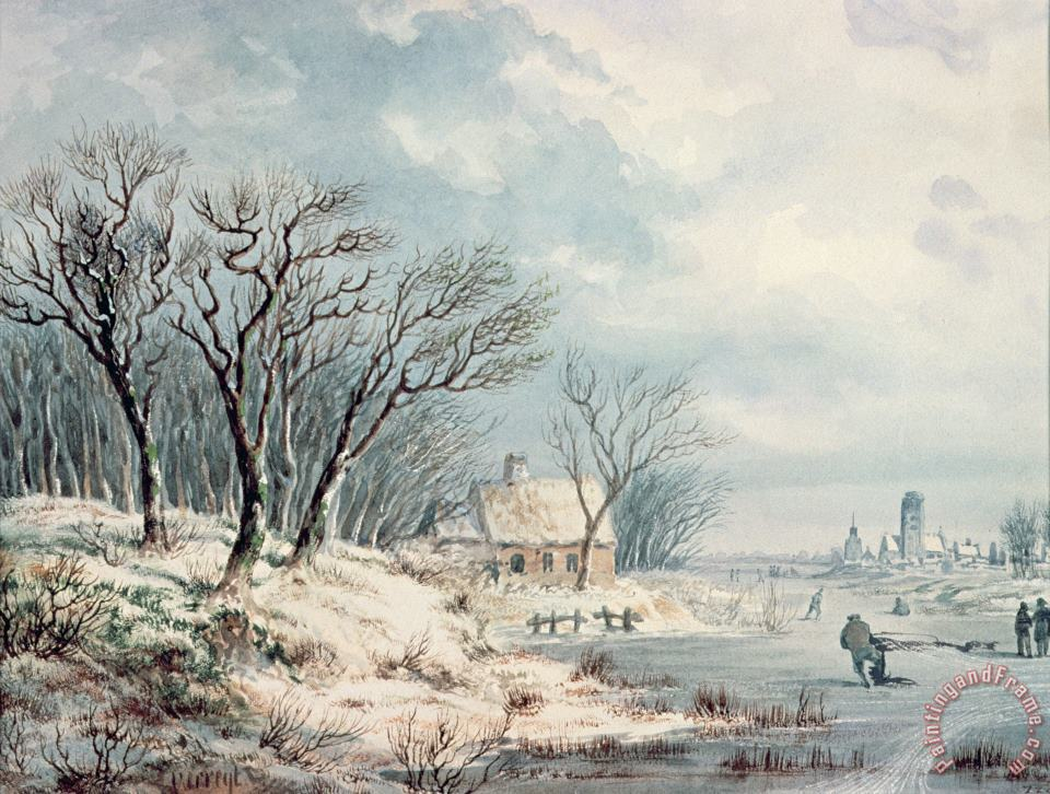 JJ Verreyt Landscape in Winter Art Painting