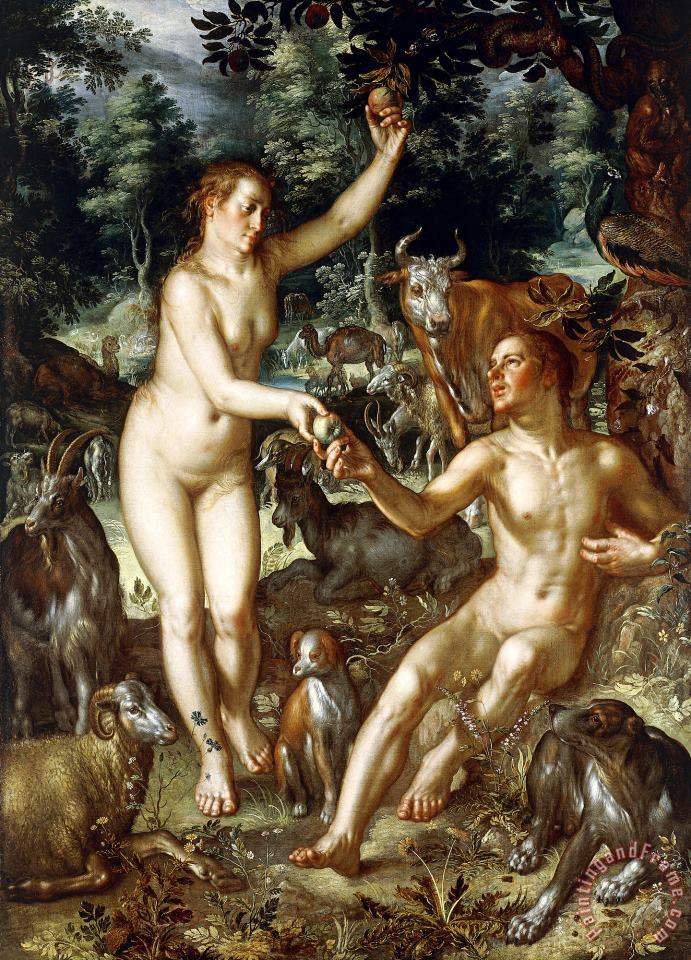 Joachim Anthonisz Wtewael Adam And Eve Art Painting