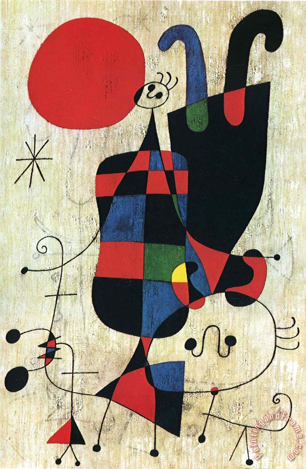 Figures And Dog in Front of The Sun painting - Joan Miro Figures And Dog in Front of The Sun Art Print