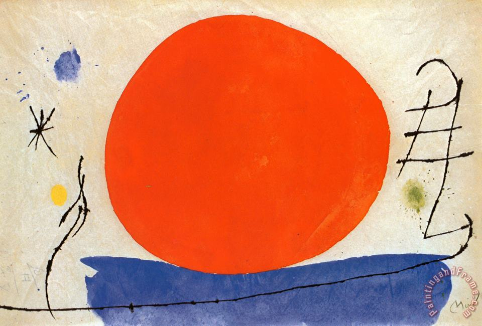 The Red Sun painting - Joan Miro The Red Sun Art Print