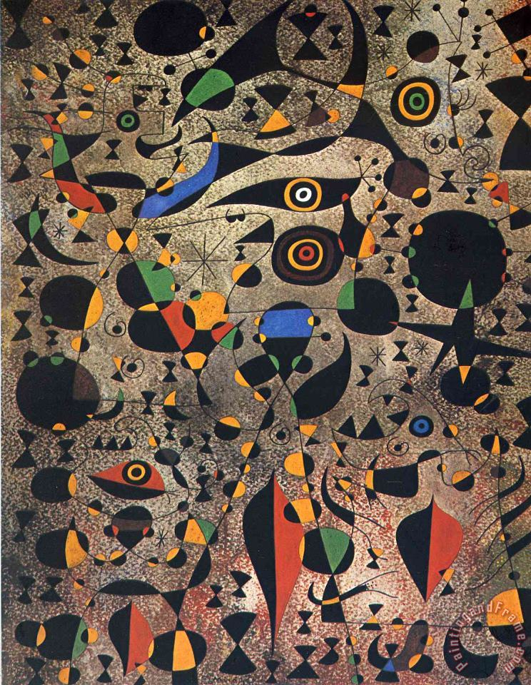 Joan Miro Woman Encircled by The Flight of a Bird Art Painting