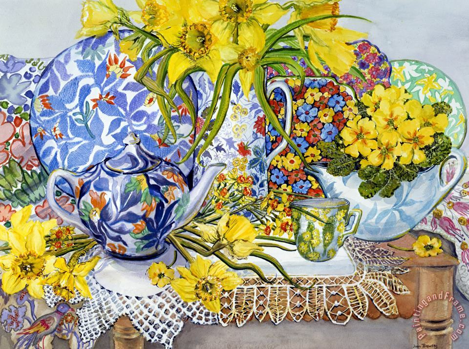Daffodils Antique Jugs Plates Textiles And Lace painting - Joan Thewsey Daffodils Antique Jugs Plates Textiles And Lace Art Print