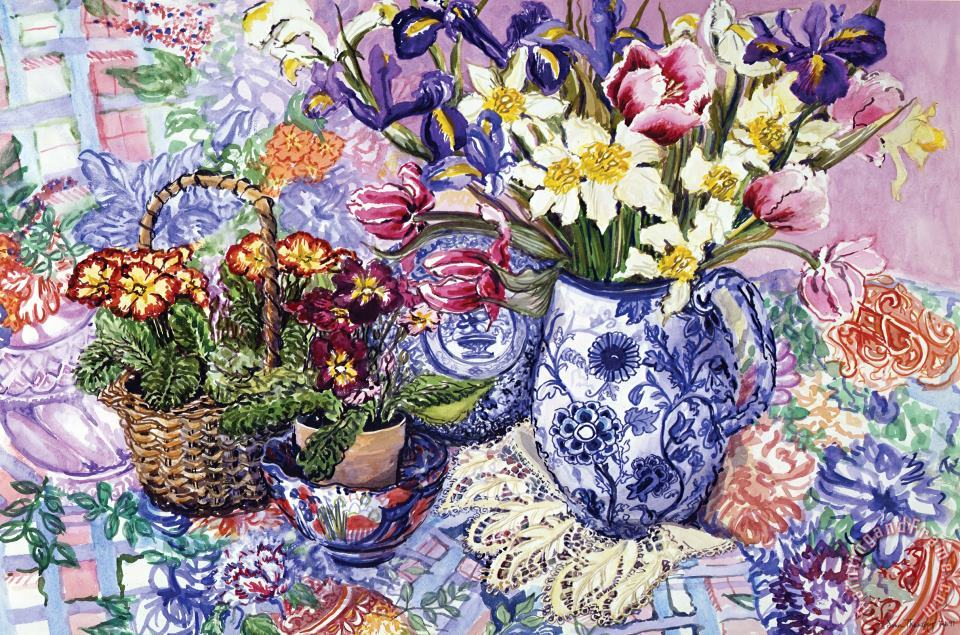 Daffodils Tulips And Iris In A Jacobean Blue And White Jug With Sanderson Fabric And Primroses painting - Joan Thewsey Daffodils Tulips And Iris In A Jacobean Blue And White Jug With Sanderson Fabric And Primroses Art Print