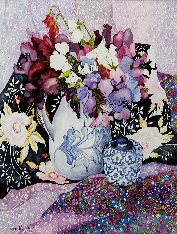 Joan Thewsey Sweet Peas In A Blue And White Jug With Blue And White Pot And Textiles Art Painting