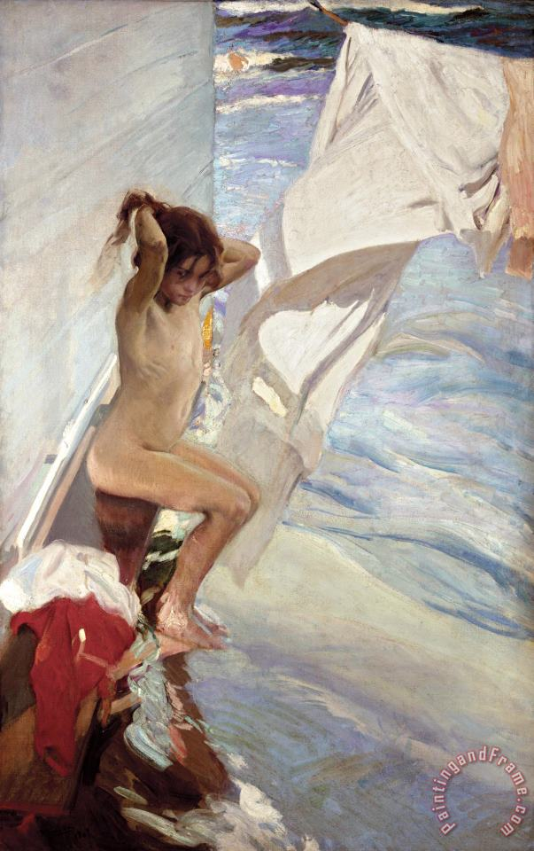 Before Bathing painting - Joaquin Sorolla y Bastida Before Bathing Art Print