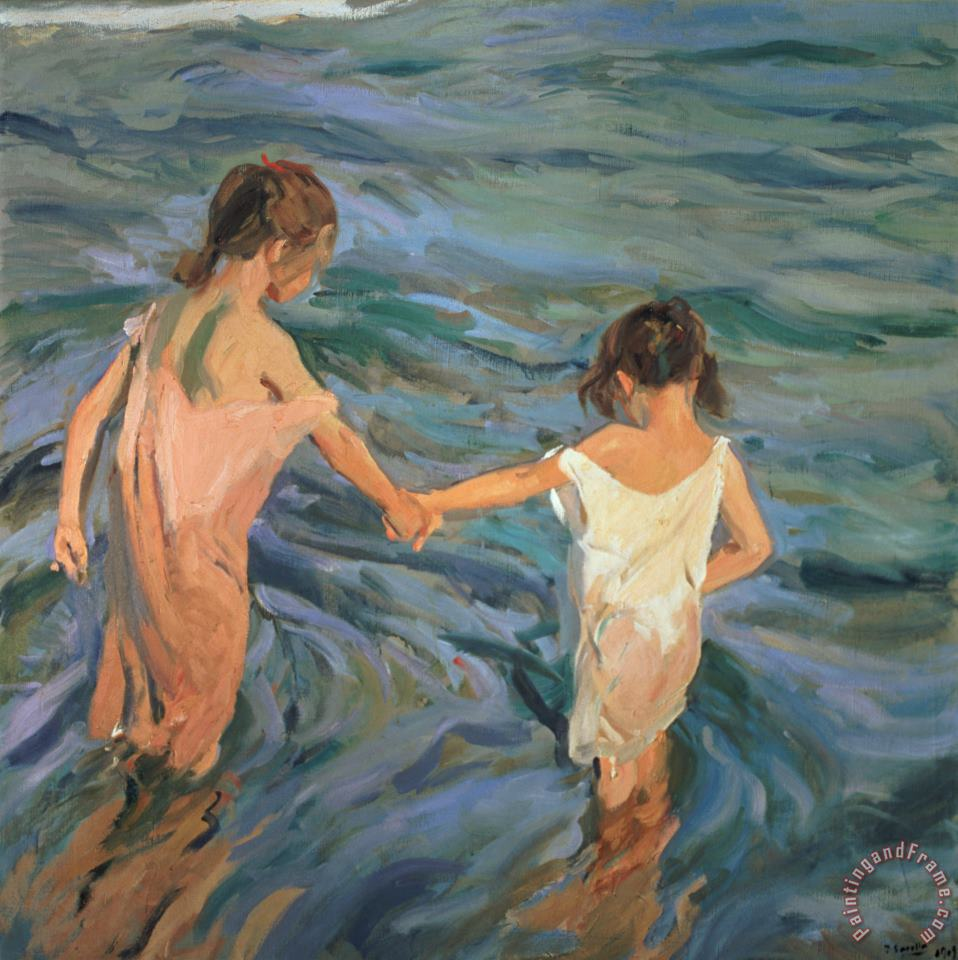 Children in the Sea painting - Joaquin Sorolla y Bastida Children in the Sea Art Print