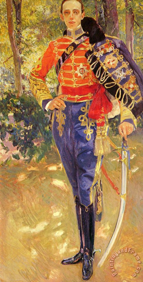 Portrait of King Alfonso XIII in a Hussar's Uniform painting - Joaquin Sorolla y Bastida Portrait of King Alfonso XIII in a Hussar's Uniform Art Print
