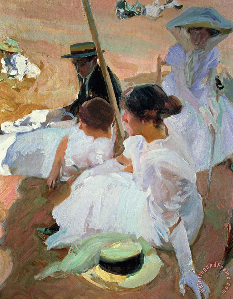 Under The Parasol painting - Joaquin Sorolla y Bastida Under The Parasol Art Print
