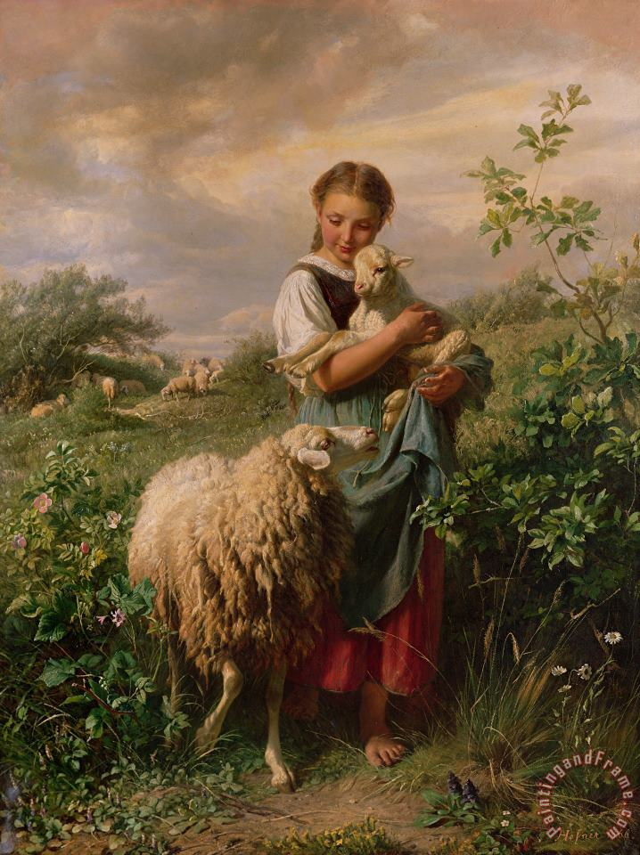 The Shepherdess painting - Johann Baptist Hofner The Shepherdess Art Print